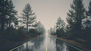 wet empty road wallpaper
